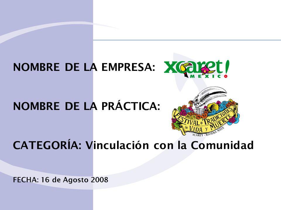 NOMBRE DE LA EMPRESA: NOMBRE DE LA PRÁCTICA: CATEGORÍA: Vinculación con la Comunidad FECHA: 16 de Agosto 2008