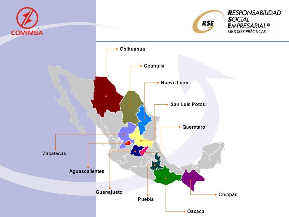 Chihuahua Coahuila Nuevo León Zacatecas Aguascalientes San Luis Potosí Guanajuato Querétaro Puebla Chiapas Oaxaca