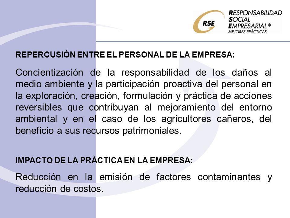 REPERCUSIÓN ENTRE EL PERSONAL DE LA EMPRESA: Concientización de la responsabilidad de los daños al medio ambiente y la participación proactiva del per