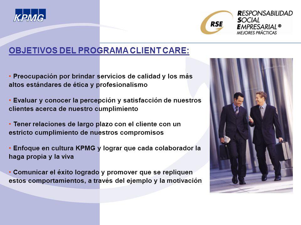 OBJETIVOS DEL PROGRAMA CLIENT CARE: Preocupación por brindar servicios de calidad y los más altos estándares de ética y profesionalismo Evaluar y cono