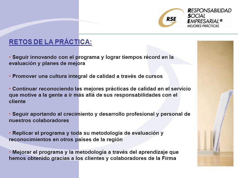 RETOS DE LA PRÁCTICA: Seguir innovando con el programa y lograr tiempos récord en la evaluación y planes de mejora Promover una cultura integral de ca