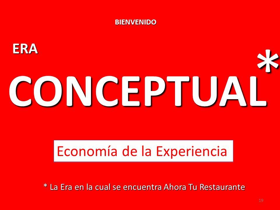 BIENVENIDO * La Era en la cual se encuentra Ahora Tu Restaurante ERA CONCEPTUAL * Economía de la Experiencia 19