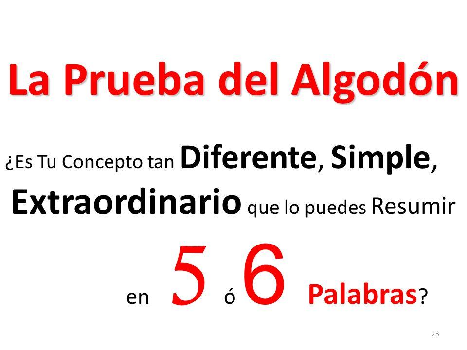 La Prueba del Algodón ¿Es Tu Concepto tan Diferente, Simple, Extraordinario que lo puedes Resumir en 5 ó 6 Palabras ? 23