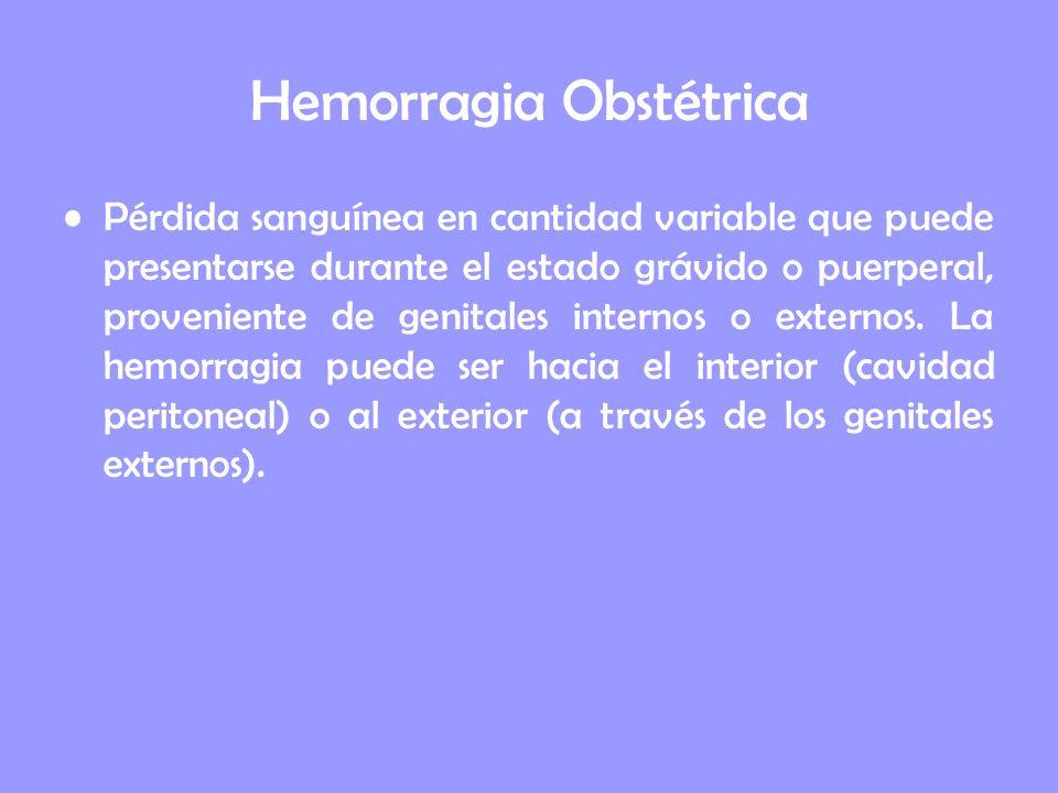 Hemorragia Obstétrica Pérdida sanguínea en cantidad variable que puede presentarse durante el estado grávido o puerperal, proveniente de genitales int