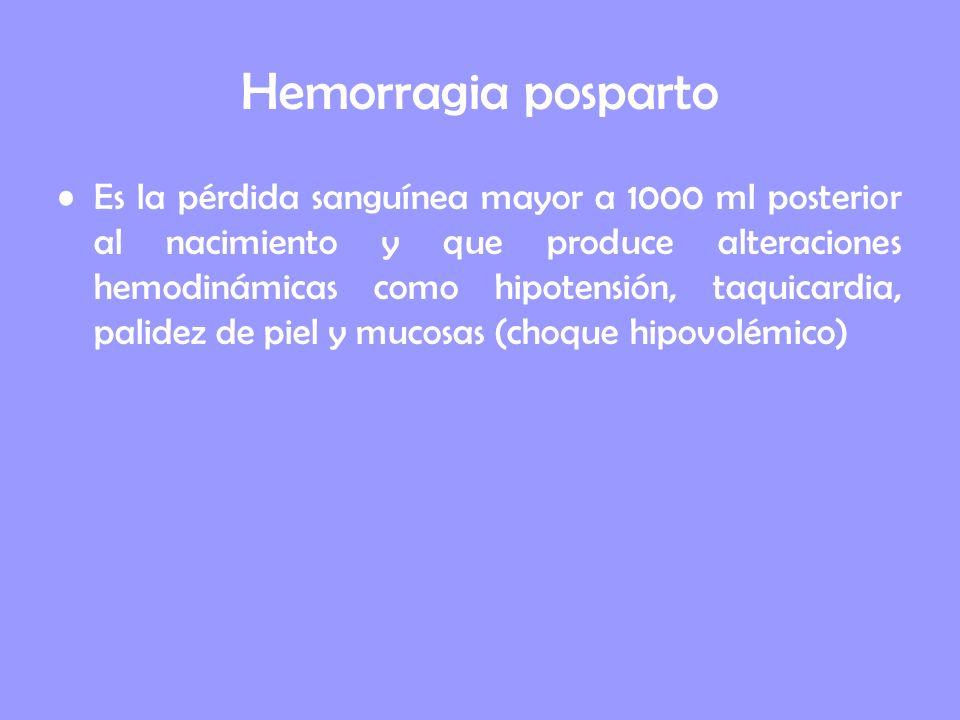 Hemorragia posparto Es la pérdida sanguínea mayor a 1000 ml posterior al nacimiento y que produce alteraciones hemodinámicas como hipotensión, taquica