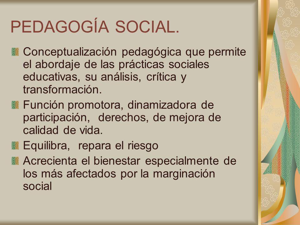 PEDAGOGÍA SOCIAL. Conceptualización pedagógica que permite el abordaje de las prácticas sociales educativas, su análisis, crítica y transformación. Fu