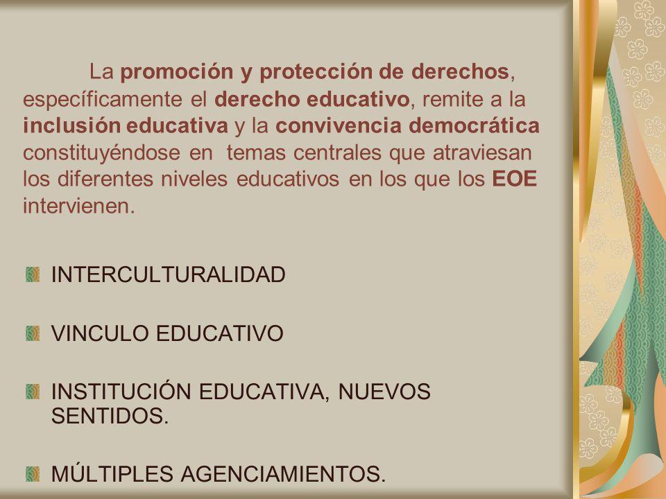 La promoción y protección de derechos, específicamente el derecho educativo, remite a la inclusión educativa y la convivencia democrática constituyénd