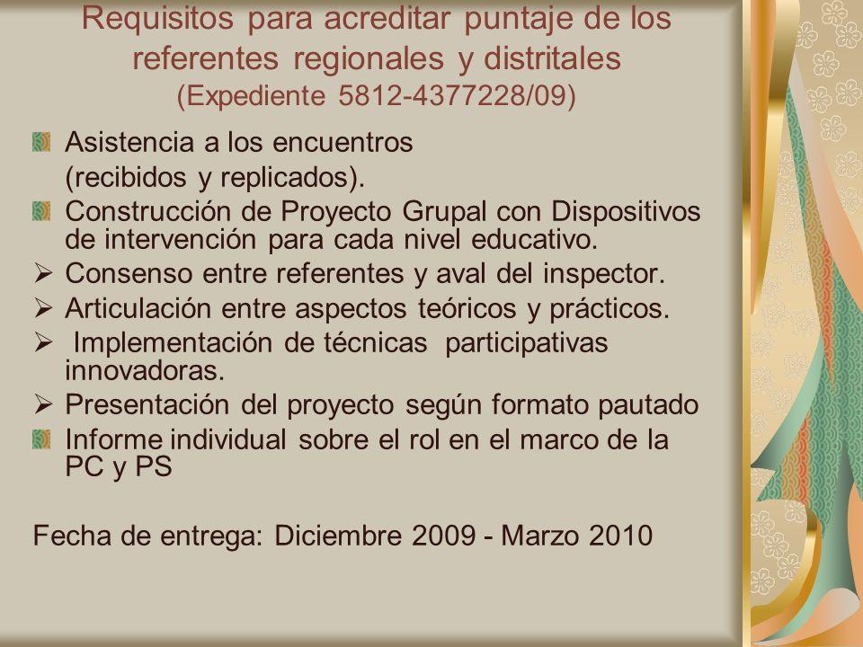 Requisitos para acreditar puntaje de los referentes regionales y distritales (Expediente 5812-4377228/09) Asistencia a los encuentros (recibidos y rep