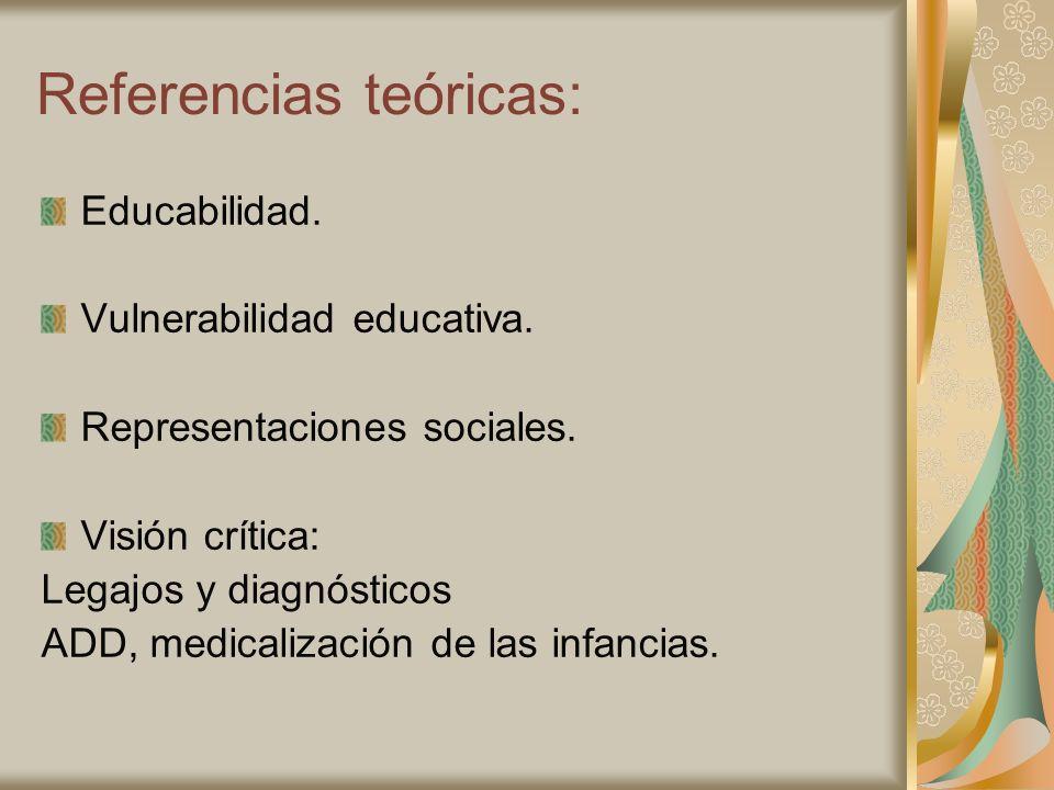 Referencias teóricas: Educabilidad. Vulnerabilidad educativa. Representaciones sociales. Visión crítica: Legajos y diagnósticos ADD, medicalización de