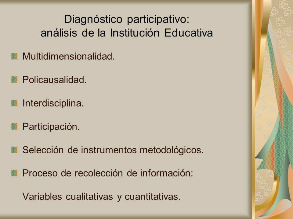 Diagnóstico participativo: análisis de la Institución Educativa Multidimensionalidad. Policausalidad. Interdisciplina. Participación. Selección de ins