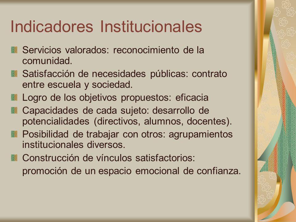 Indicadores Institucionales Servicios valorados: reconocimiento de la comunidad. Satisfacción de necesidades públicas: contrato entre escuela y socied
