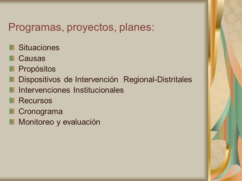 Programas, proyectos, planes: Situaciones Causas Propósitos Dispositivos de Intervención Regional-Distritales Intervenciones Institucionales Recursos
