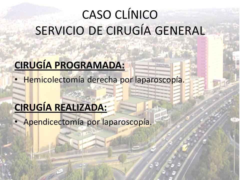 CIRUGÍA PROGRAMADA: Hemicolectomía derecha por laparoscopía. CIRUGÍA REALIZADA: Apendicectomía por laparoscopía. CASO CLÍNICO SERVICIO DE CIRUGÍA GENE
