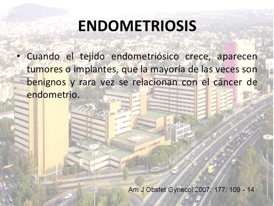 Cuando el tejido endometriósico crece, aparecen tumores o implantes, que la mayoría de las veces son benignos y rara vez se relacionan con el cáncer d