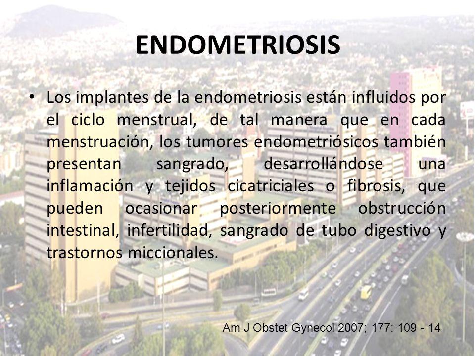 Los implantes de la endometriosis están influidos por el ciclo menstrual, de tal manera que en cada menstruación, los tumores endometriósicos también