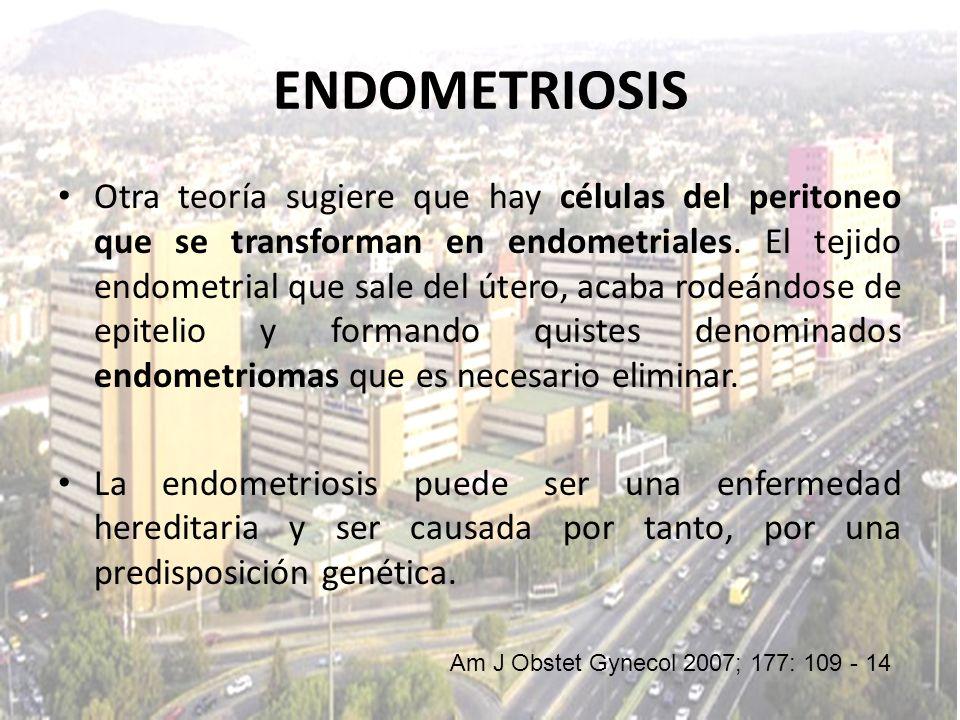 Otra teoría sugiere que hay células del peritoneo que se transforman en endometriales. El tejido endometrial que sale del útero, acaba rodeándose de e