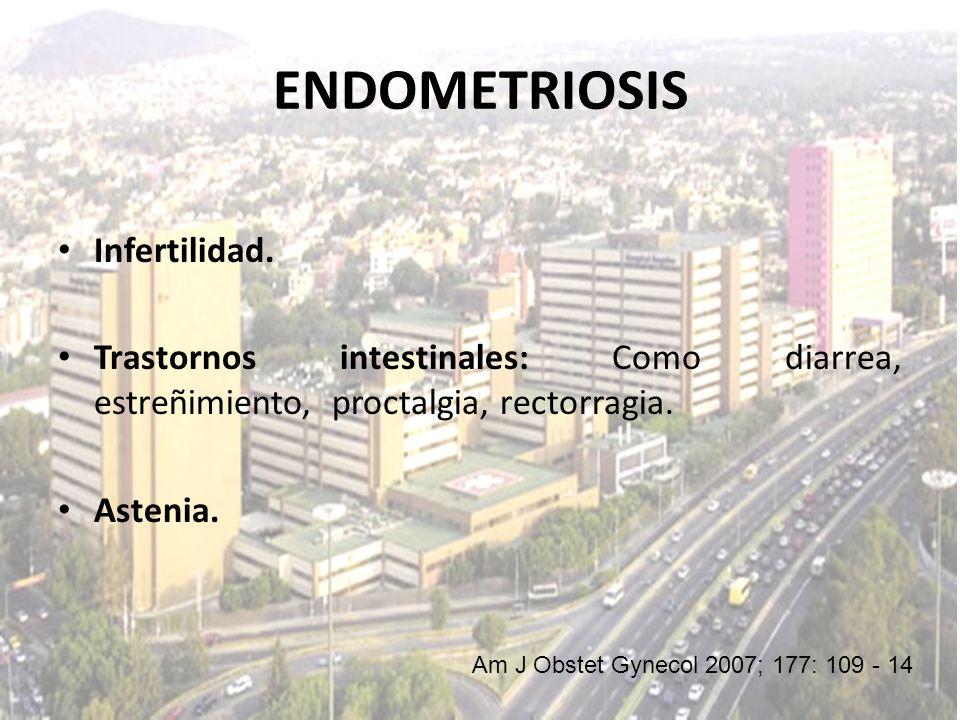 Infertilidad. Trastornos intestinales: Como diarrea, estreñimiento, proctalgia, rectorragia. Astenia. Am J Obstet Gynecol 2007; 177: 109 - 14 ENDOMETR