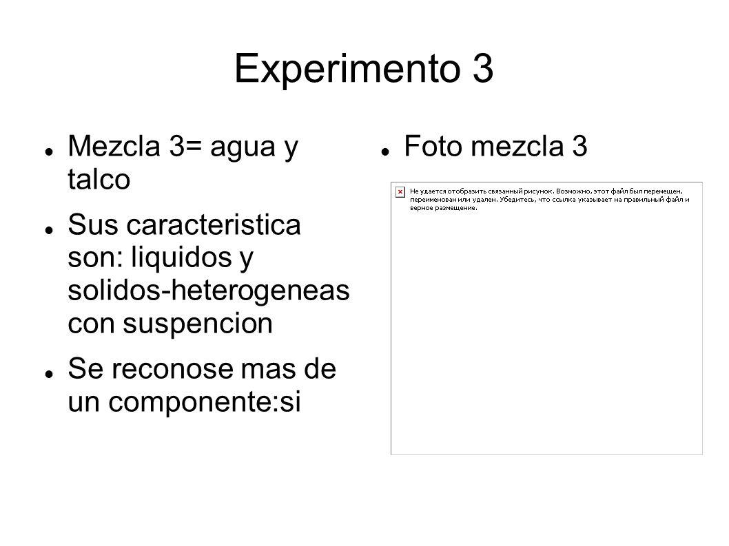 Experimento 3 Mezcla 3= agua y talco Sus caracteristica son: liquidos y solidos-heterogeneas con suspencion Se reconose mas de un componente:si Foto m