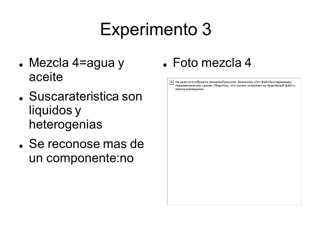 Experimento 3 Mezcla 4=agua y aceite Suscarateristica son liquidos y heterogenias Se reconose mas de un componente:no Foto mezcla 4