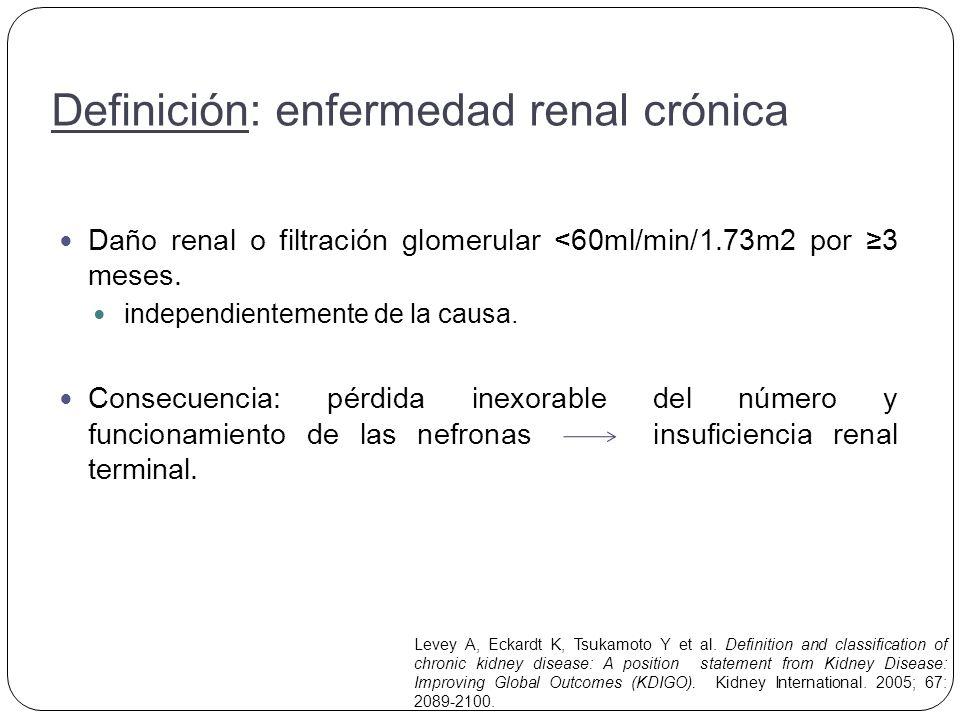 Hipertensión, 50% - 75% de los pacientes con Enfermedad renal crónica.