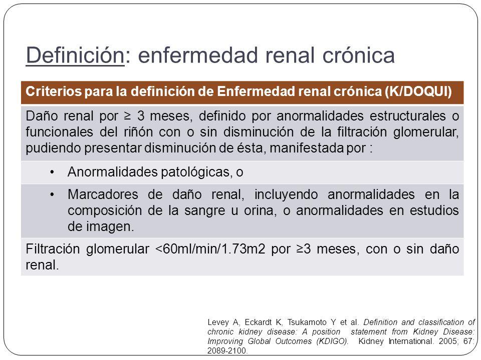 Clasificación: enfermedad renal crónica (K/DOQUI) FaseFiltración glomerularDescripción 1 90 ml/min/1.73m2Daño renal con filtración normal o elevada 260-89 ml/min/1.73m2Daño renal con filtración ligeramente disminuida 330-59 ml/min/1.73m2Daño renal con filtración moderadamente disminuida 415-29 ml/min/1.73m2Daño renal con filtración gravemente disminuida 5< 15 ml/min/1.73m2 (o diálisis) Insuficiencia renal Levey A, Eckardt K, Tsukamoto Y et al.