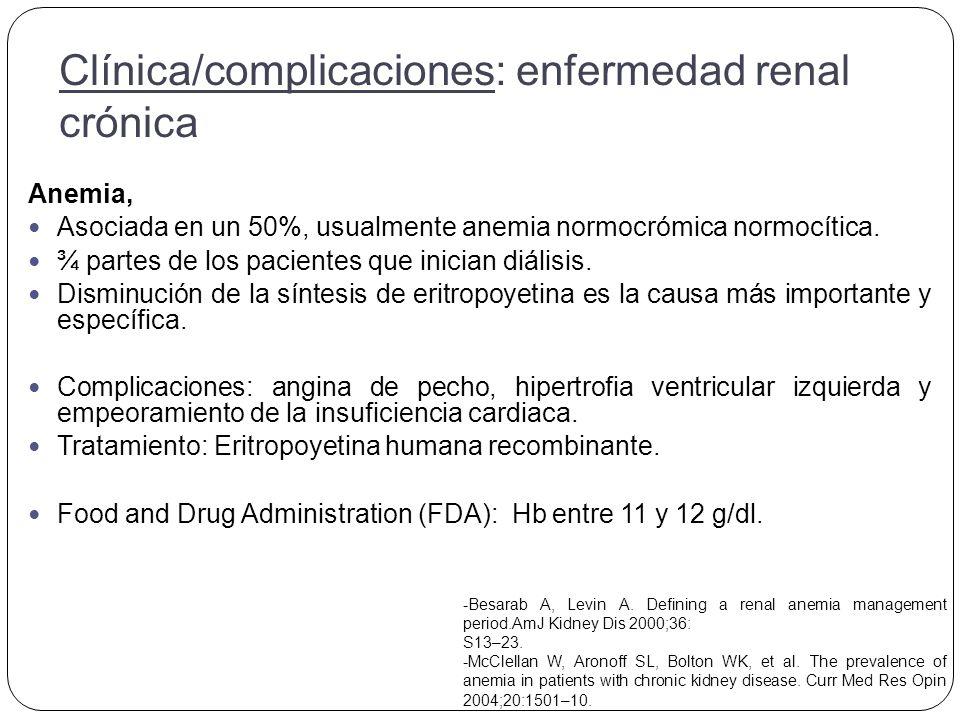 Anemia, Asociada en un 50%, usualmente anemia normocrómica normocítica.