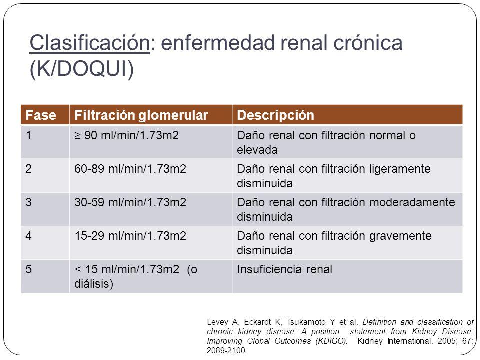 Métodos para la estimación de la TFG Ccr calculado por la siguiente ecuación: Ucr: creatinina en orina, Scr: creatinina sérica.