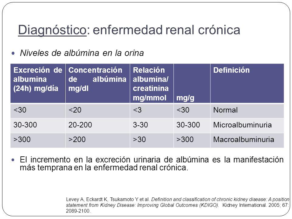 Niveles de albúmina en la orina El incremento en la excreción urinaria de albúmina es la manifestación más temprana en la enfermedad renal crónica.