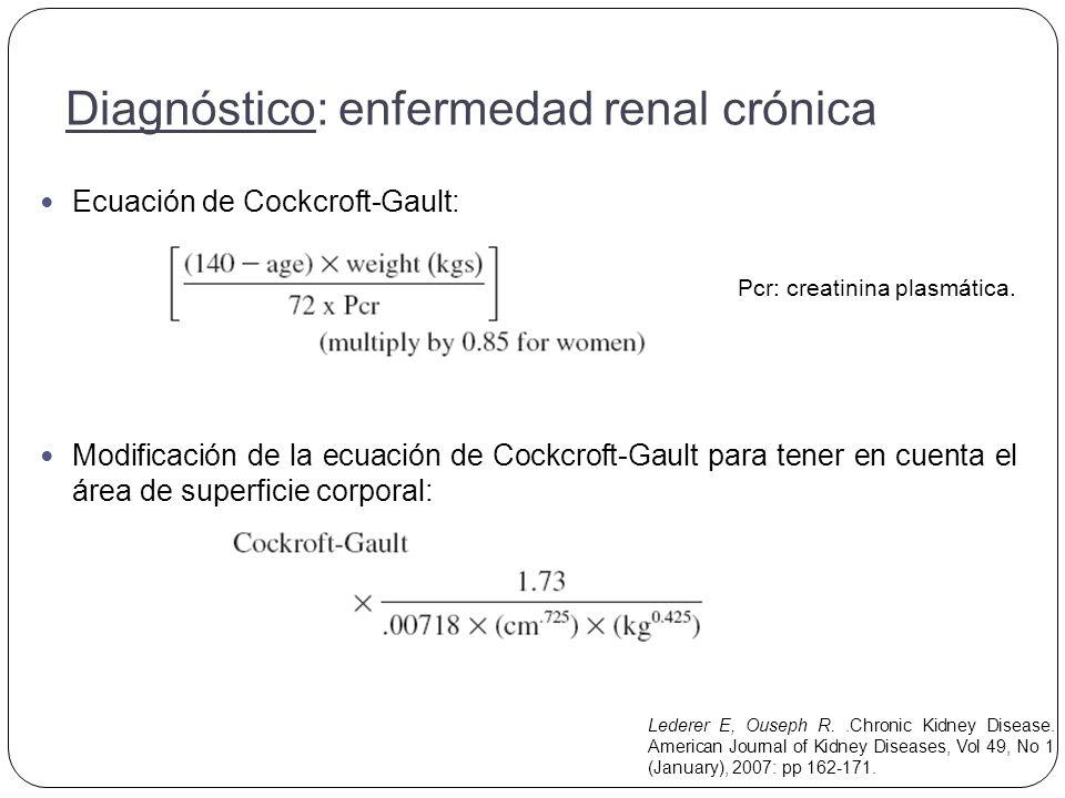 Ecuación de Cockcroft-Gault: Pcr: creatinina plasmática.