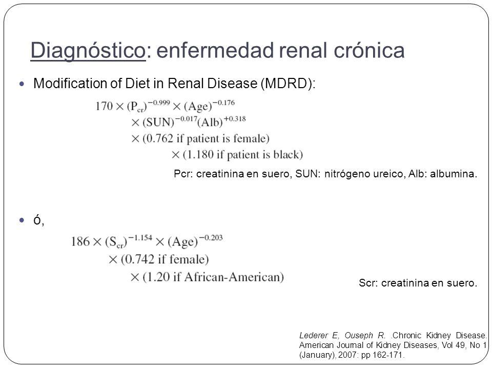 Modification of Diet in Renal Disease (MDRD): Pcr: creatinina en suero, SUN: nitrógeno ureico, Alb: albumina.