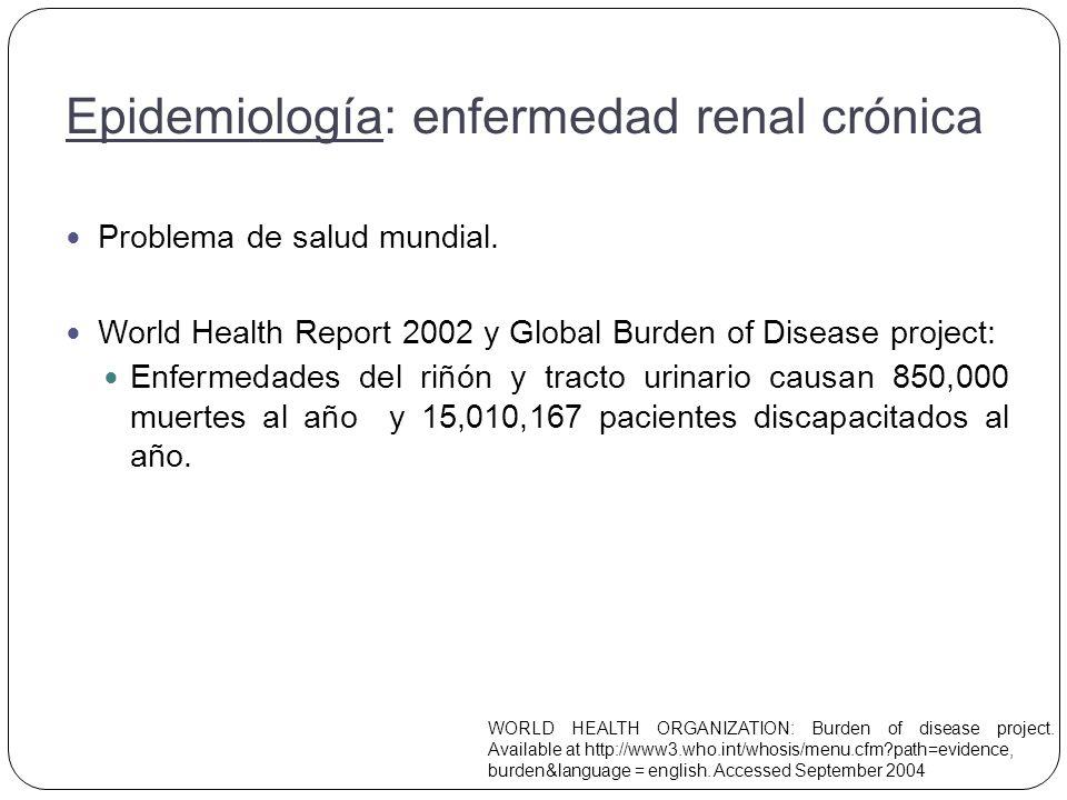 Principal causa de insuficiencia renal en fase terminal: DM 2.