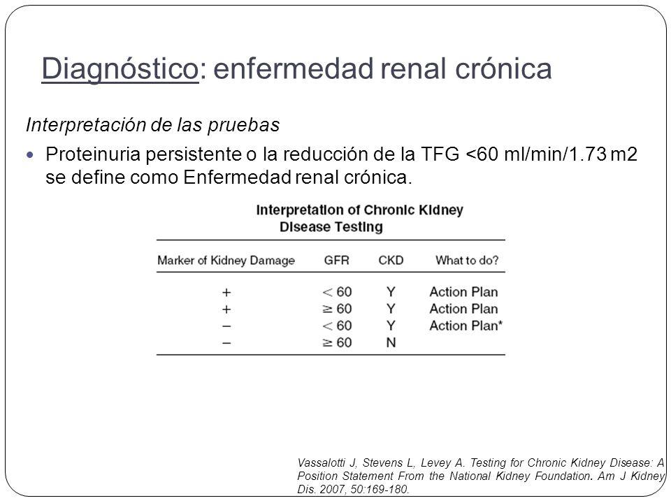 Interpretación de las pruebas Proteinuria persistente o la reducción de la TFG <60 ml/min/1.73 m2 se define como Enfermedad renal crónica.
