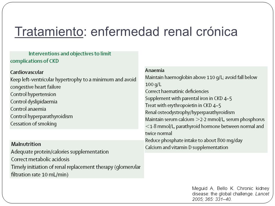 Meguid A, Bello K. Chronic kidney disease: the global challenge. Lancet 2005; 365: 331–40. Tratamiento: enfermedad renal crónica