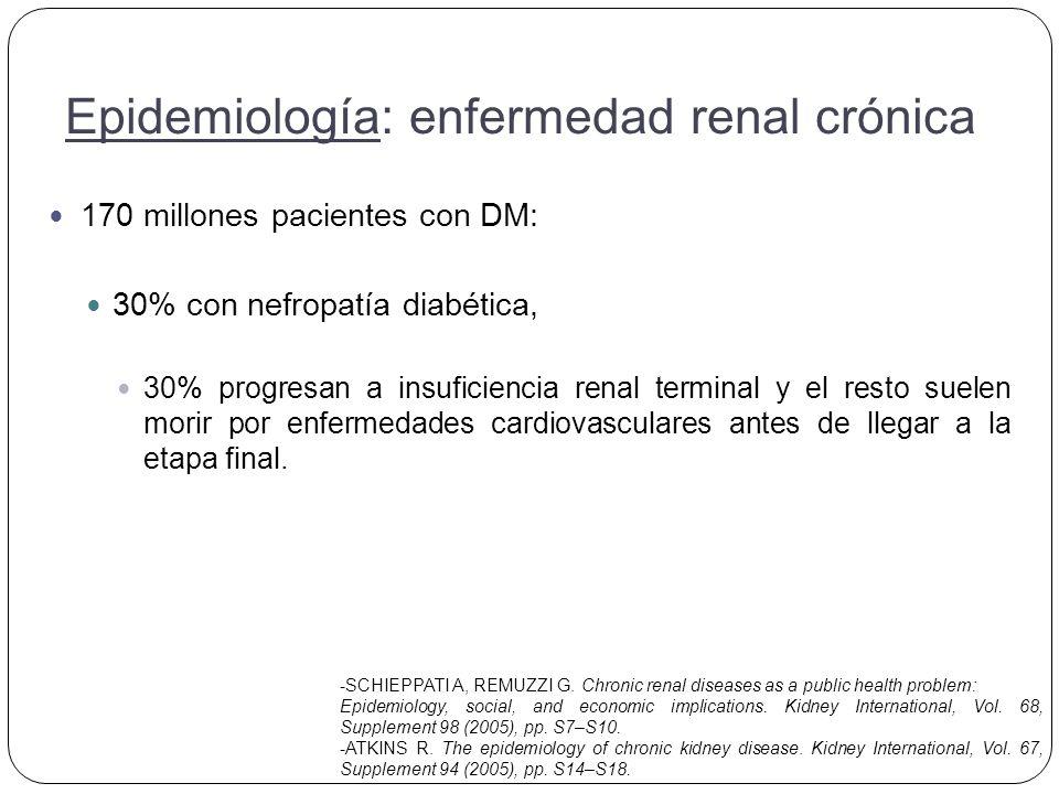 170 millones pacientes con DM: 30% con nefropatía diabética, 30% progresan a insuficiencia renal terminal y el resto suelen morir por enfermedades cardiovasculares antes de llegar a la etapa final.