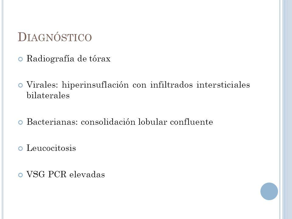 D IAGNÓSTICO Radiografía de tórax Virales: hiperinsuflación con infiltrados intersticiales bilaterales Bacterianas: consolidación lobular confluente L