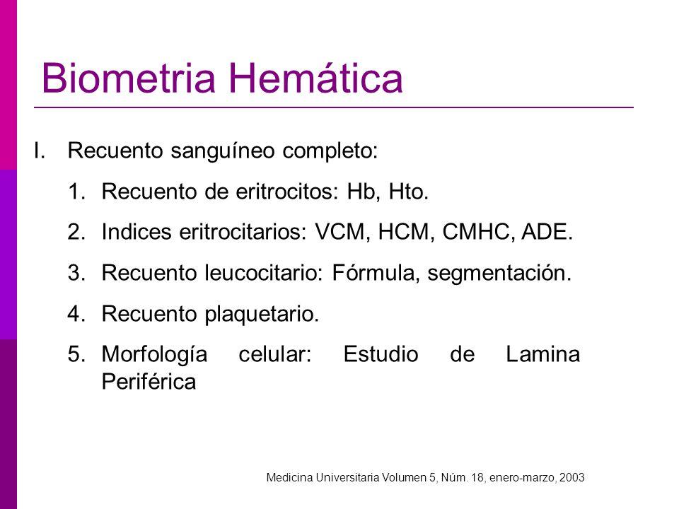 I.Recuento sanguíneo completo: 1.Recuento de eritrocitos: Hb, Hto. 2.Indices eritrocitarios: VCM, HCM, CMHC, ADE. 3.Recuento leucocitario: Fórmula, se