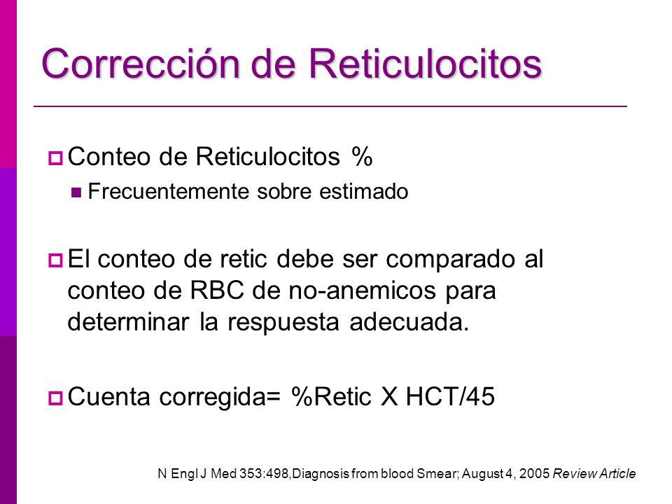 Corrección de Reticulocitos Conteo de Reticulocitos % Frecuentemente sobre estimado El conteo de retic debe ser comparado al conteo de RBC de no-anemi