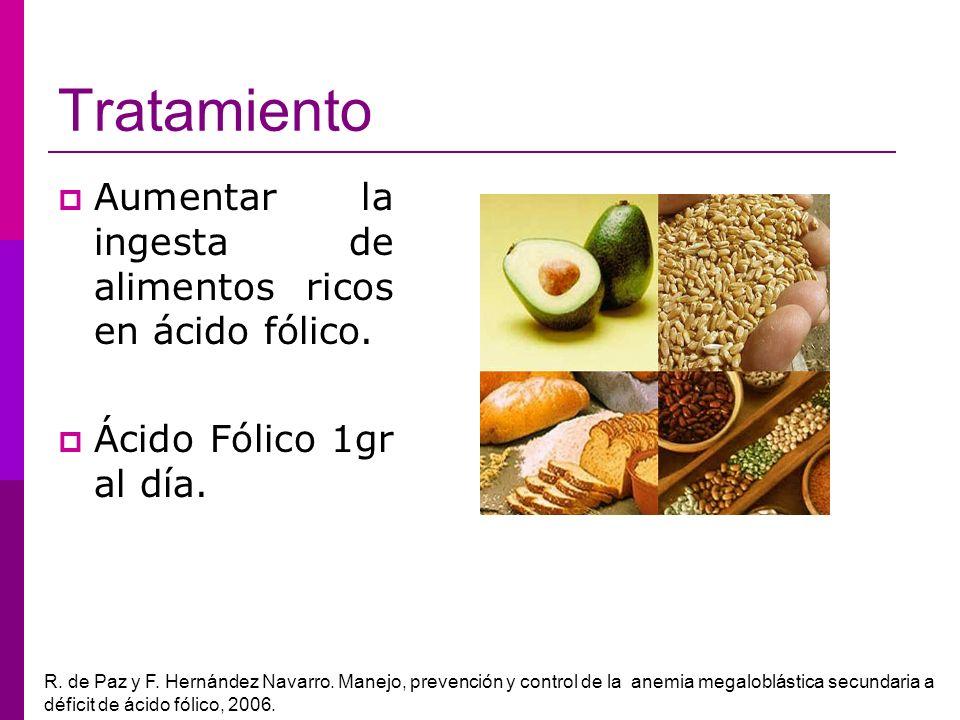 Tratamiento Aumentar la ingesta de alimentos ricos en ácido fólico. Ácido Fólico 1gr al día. R. de Paz y F. Hernández Navarro. Manejo, prevención y co