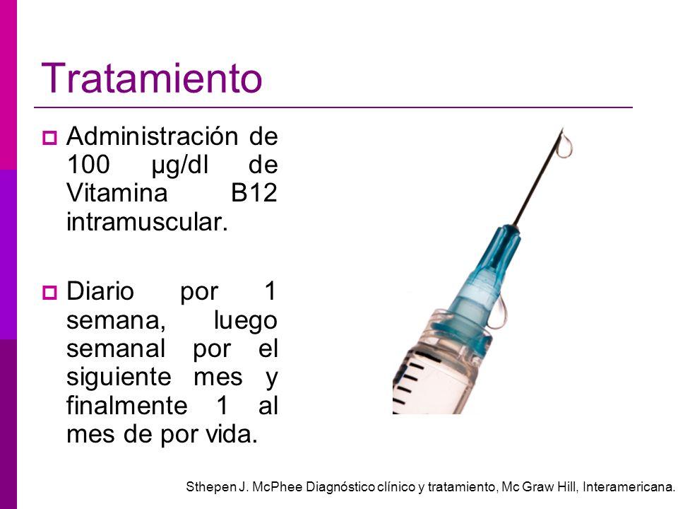 Tratamiento Administración de 100 μg/dl de Vitamina B12 intramuscular. Diario por 1 semana, luego semanal por el siguiente mes y finalmente 1 al mes d