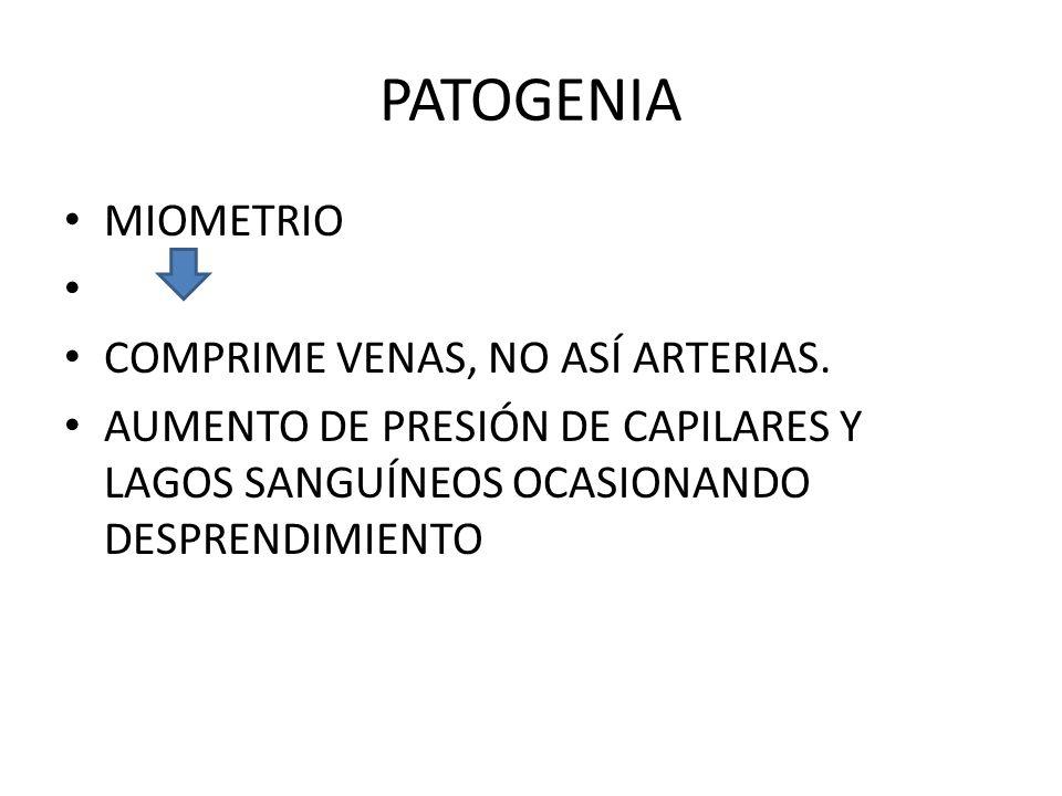 PATOGENIA MIOMETRIO COMPRIME VENAS, NO ASÍ ARTERIAS. AUMENTO DE PRESIÓN DE CAPILARES Y LAGOS SANGUÍNEOS OCASIONANDO DESPRENDIMIENTO