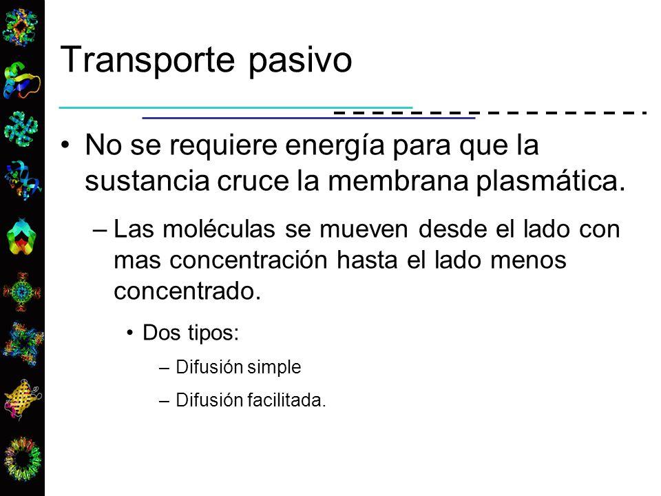 Transporte pasivo No se requiere energía para que la sustancia cruce la membrana plasmática. –Las moléculas se mueven desde el lado con mas concentrac