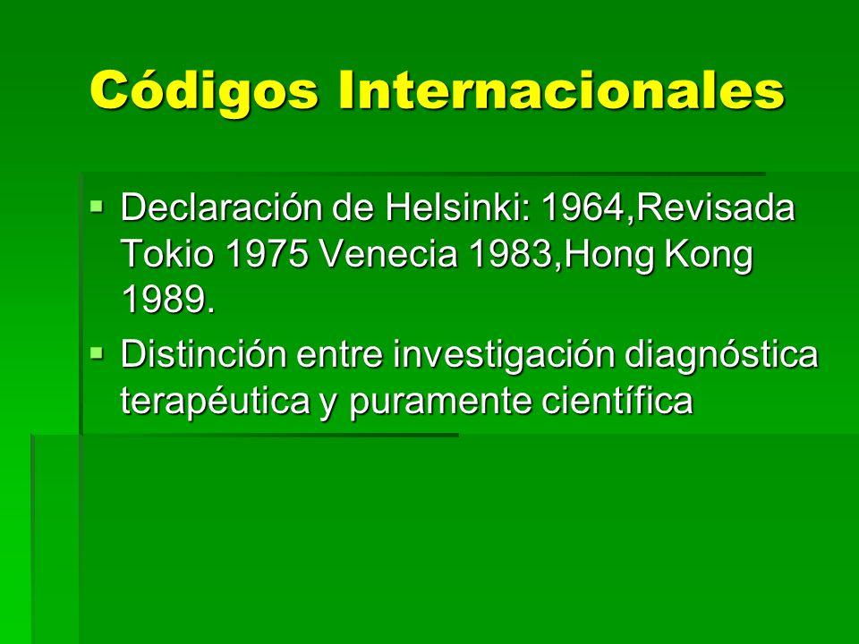 Códigos Internacionales Declaración de Helsinki: 1964,Revisada Tokio 1975 Venecia 1983,Hong Kong 1989. Declaración de Helsinki: 1964,Revisada Tokio 19