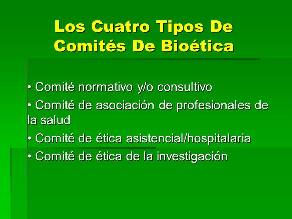 Los Cuatro Tipos De Comités De Bioética Comité normativo y/o consultivo Comité normativo y/o consultivo Comité de asociación de profesionales de la sa