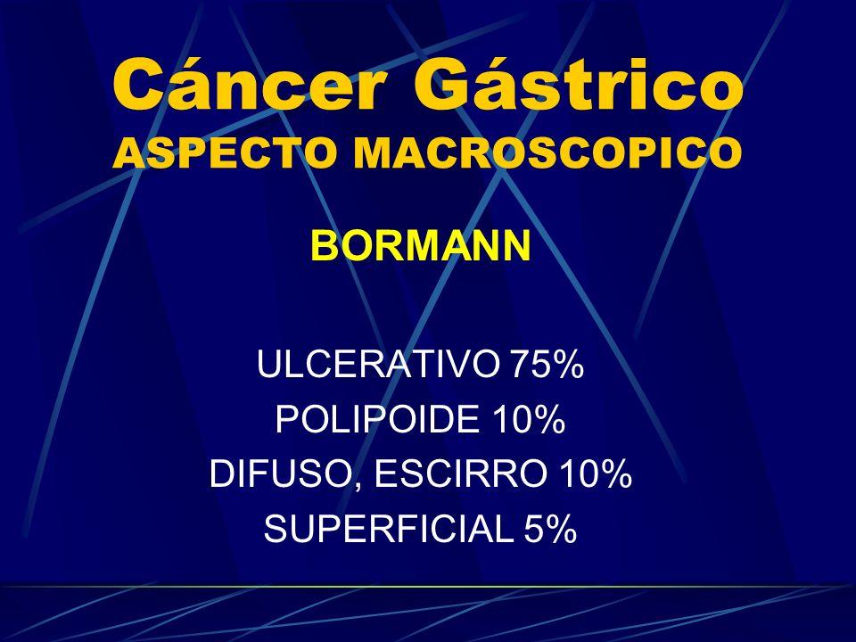 Cáncer Gástrico ASPECTO MACROSCOPICO BORMANN ULCERATIVO 75% POLIPOIDE 10% DIFUSO, ESCIRRO 10% SUPERFICIAL 5%