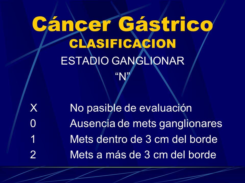 Cáncer Gástrico CLASIFICACION ESTADIO GANGLIONAR N XNo pasible de evaluación 0Ausencia de mets ganglionares 1Mets dentro de 3 cm del borde 2Mets a más