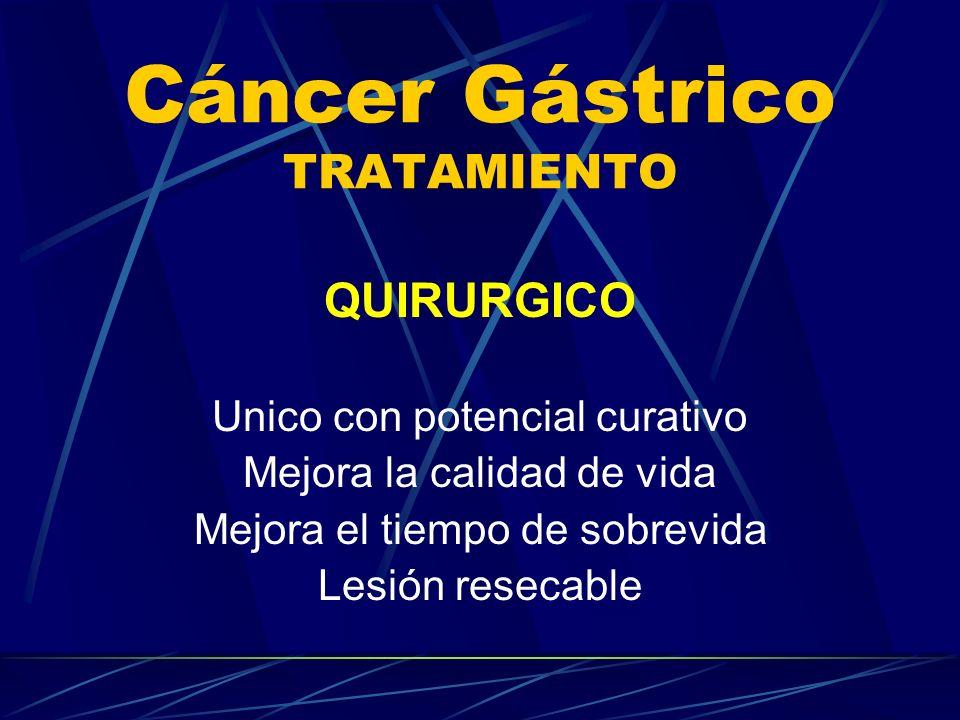 Cáncer Gástrico TRATAMIENTO QUIRURGICO Unico con potencial curativo Mejora la calidad de vida Mejora el tiempo de sobrevida Lesión resecable