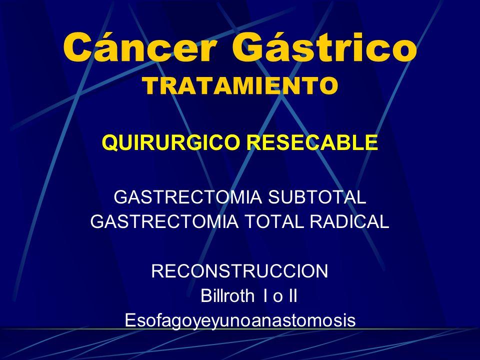 Cáncer Gástrico TRATAMIENTO QUIRURGICO RESECABLE GASTRECTOMIA SUBTOTAL GASTRECTOMIA TOTAL RADICAL RECONSTRUCCION Billroth I o II Esofagoyeyunoanastomo