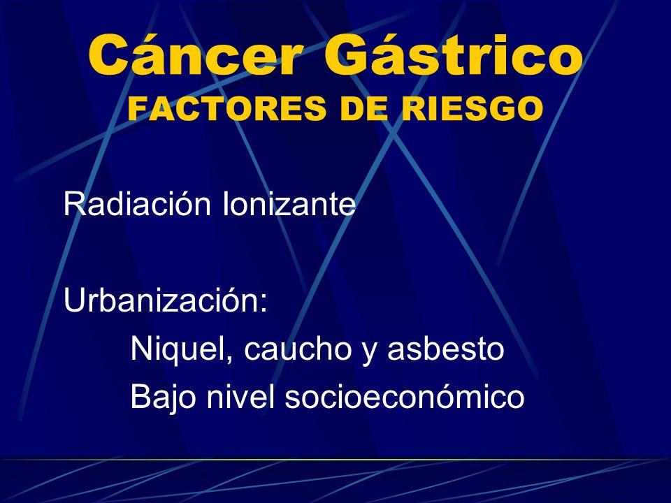 Cáncer Gástrico FACTORES DE RIESGO Radiación Ionizante Urbanización: Niquel, caucho y asbesto Bajo nivel socioeconómico