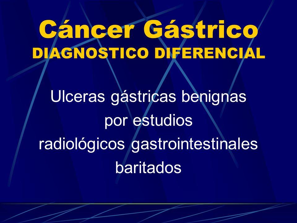Cáncer Gástrico DIAGNOSTICO DIFERENCIAL Ulceras gástricas benignas por estudios radiológicos gastrointestinales baritados