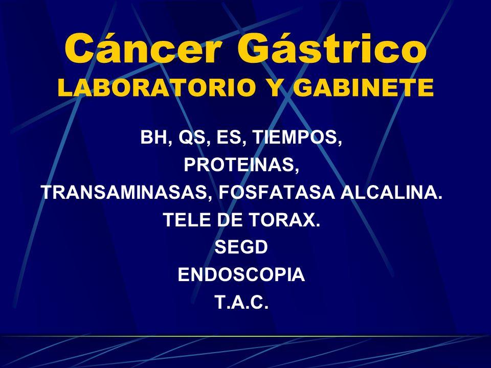 Cáncer Gástrico LABORATORIO Y GABINETE BH, QS, ES, TIEMPOS, PROTEINAS, TRANSAMINASAS, FOSFATASA ALCALINA. TELE DE TORAX. SEGD ENDOSCOPIA T.A.C.